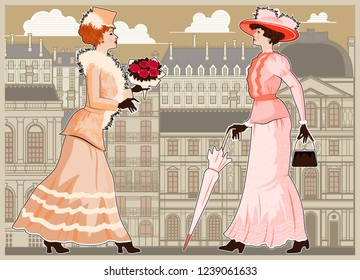 Two women walking the streets of Paris. Handmade drawing vector illustration. Vintage style. All objects are grouped and layered. Can be used for posters, banners, postcards, books & etc.