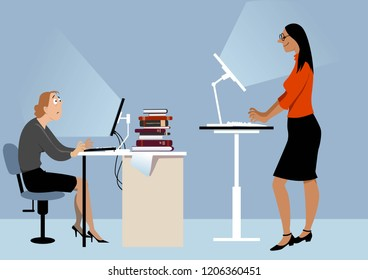 Two women working at the office on the computers, one of them using a standing desk, PS 8 vector illustration