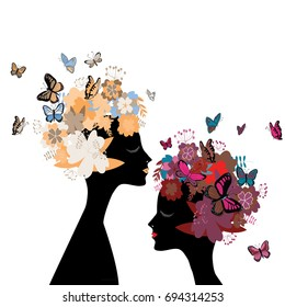 Two women's heads silhouettes facing each other with flowers and butterflies instead of hair. Vector illustration on white background