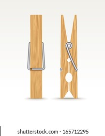 Two wooden cloth clips - vector illustration