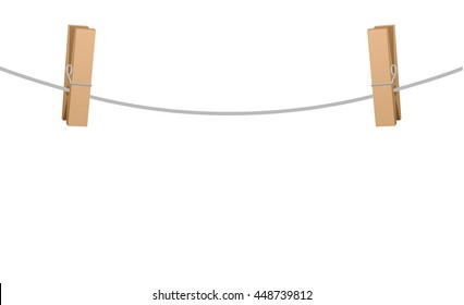 Two wooden clothe spins clipped on a clothesline rope.