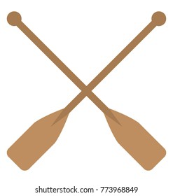 Two wooden crossed oars, flat vector icon design