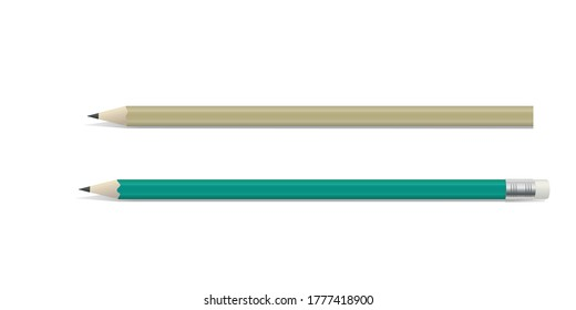 Two wooden pencil with graphite leads, one with a rubber or eraser on the end, colored vector illustration