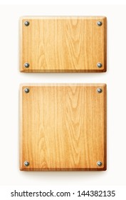 two wooden planks isolated on white background eps10 vector illustration