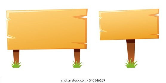 Two wooden signs in different sizes illustration