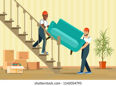 Two workers are carrying a new armchair up the stairs. Moving House. Vector flat style illustration