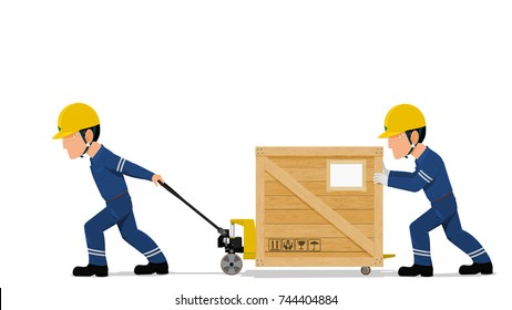 Two workers are moving a heavy wooden container by the pallet truck on transparent background