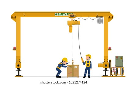 Two workers are operating gantry crane on white background