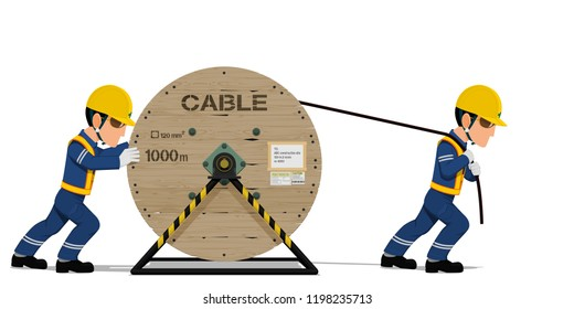 Two workers are spreading  the cable on transparent background