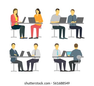 Two workers at the table. Business people set office sit desk. Businesspeople working. Pair of managers couple