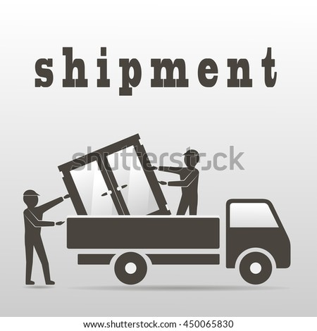 two workers unload windowunloading car window stock vector royalty