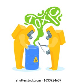 Two workers in yellow protective suits next to a barrel of radioactive waste. A worker holds a radiation meter, a Geiger counter, in his hand. Vector cartoon illustration isolated on white background.
