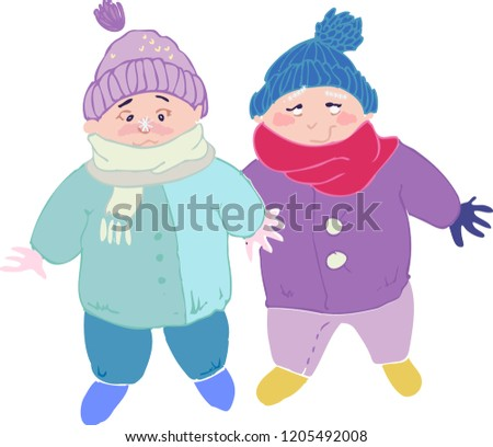 Two Wrapped Babies Cold Winter Surprised Stock Vector Royalty Free