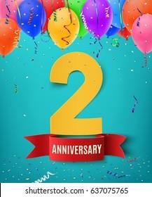 Antecedentes de dos años con cinta roja confetti y globos en fondo azul. Diseño de una tarjeta de felicitación, un cartel o un folleto. Ilustración vectorial.