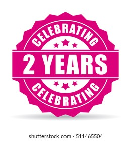 Two years anniversary celebrating icon vector illustration isolated on white background