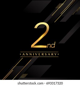 two years anniversary celebration logotype. 2nd anniversary logo golden colored isolated on black background, vector design for greeting card and invitation card.