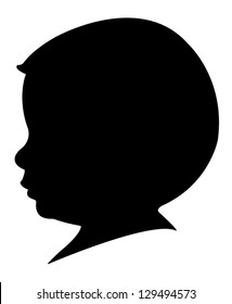 two years old baby boy head silhouette, vector