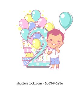 28e78c273c8 Two years old boy standing near large number 2. Second year celebration.  Little boy s