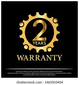 Two years warranty golden label on black background - Vector