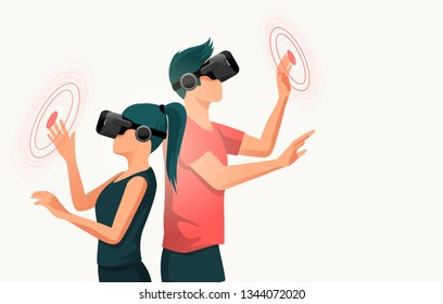 Two young adults using virtual reality headsets. People vector illustration.