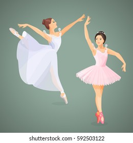 Two young ballet dancers standing in pose flat design on gray background.  Vector illustration of ballerinas in special dancing dresses