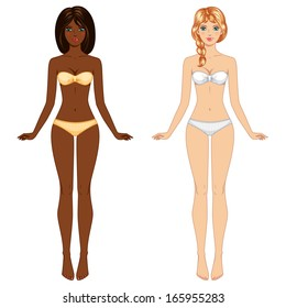 Two young barefoot girls from different ethnic groups in underwear. Vector illustration. Female body proportions, front view. Smiling happy face. Mannequin. Isolated on white.