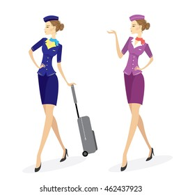 Two Young beautiful hostess in blue with baggage,isolated on white, stock vector illustration