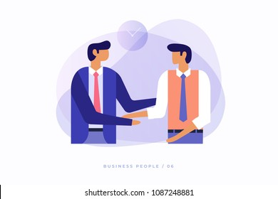 Two young businessmen talking to each other and shaking hands. Vector illustration, flat design.