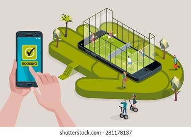 Two young couples of attractive young sport men and sport women playing in a paddel court iinside on a giant smart phone. Other men and women around making online booking  with their smartphones.