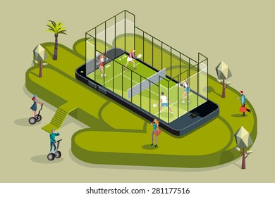 Two young couples of attractive young sportmen and sportwomen playing in a padel court iinside on a giant smart phone. Other men and women around making online booking  with their smartphones.