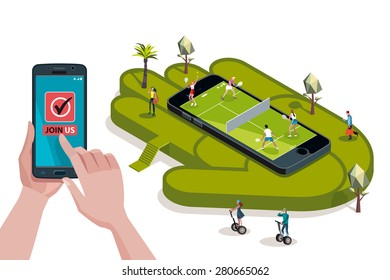 Two young couples playing tennis in a field on a giant smart phone. Hands holding touchscreen smart phone. In the screen a mobile applications for booking and reservation.