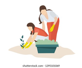 Two young girls take care and plant the plants in the garden. A gardener or farmer grows crops in greenhouses. Cartoon style flat illustration.