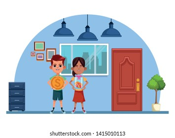 two young little kids girl holding a glass jar with coins and boy carrying a big coin avatar carton character indoor in house background vector illustration graphic design.
