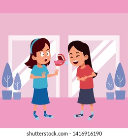 two young little kids girl laughing and girl with false chattering jaws indoor with a windows behind avatar carton character vector illustration graphic design