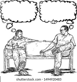 Two young man sitting on a bench staring at each other with blank thought bubble. Hand drawn vector illustration.
