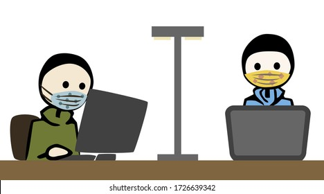 Two young man wearing breathing masks, working on a pc and notebook.