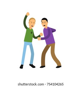Two young men fighting with fists. People showing negative emotions. Aggressive bad behavior and violent behavior concept. Flat cartoon characters. Vector illustration isolated on white background.