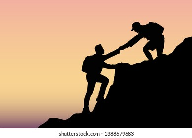 Two young men are helping to climb the top of the mountain. Help concept together.