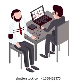 Two young men are undergoing a lie detector test. The polygraph detect lies and truth. Template for business. Vector infographics in flat style isolated on white.