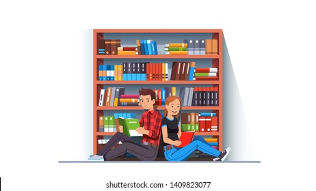 Two young people man & woman couple reading books together sitting back to back in front or big library bookcase. Student bookworms educating themselves. Flat style vector character illustration