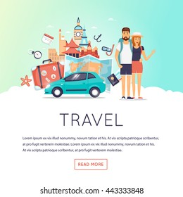 Two young tourists on vacation. Character design. World Travel. Planning summer adventure. Holiday. Flat design vector illustration.