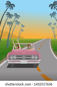 Two young women enjoying summer drive by the pink convertible in roadway at sunset