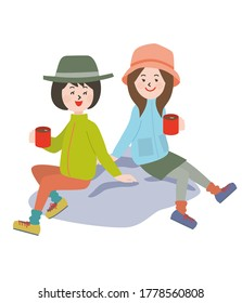 Two young women outdoors style sitting on rocks and drinking coffee.Vector illustration.