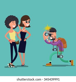 Two young women posing while photographer. Correspondent profession, reporter and snapshot, vector illustration