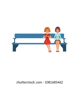 Two young women sitting on bench in reception waiting for something. People in queue. Flat vector design