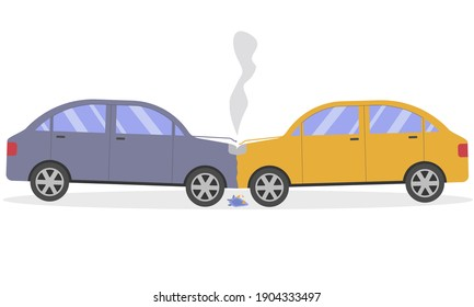 a two-car car accident. Head-on collision of cars.