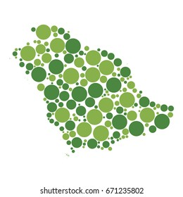 two-colors circles of different sizes isolated on white background in shape of map of saudi arabia