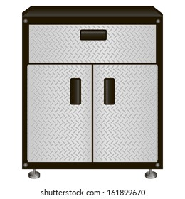 The two-door steel cabinet with drawers for tools. Vector illustration.