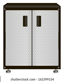 The two-door steel cabinet for tools. Vector illustration.