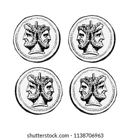 Two-faced Janus. Two male heads in profile, connected by the nape. Stylization of the ancient Roman coin. Graphical design. Vector illustration.